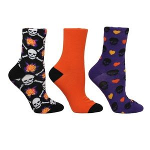 3 Pk BETSEY JOHNSON Skull Bat Halloween Socks NWT